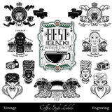 Reeks koffieetiketten en elementen van verschillend deel van wereld Geïsoleerde zwarte Royalty-vrije Stock Foto's