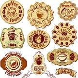 Reeks koffieetiketten - hand getrokken pictogrammen van kop en Royalty-vrije Stock Foto