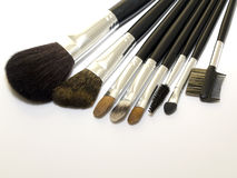 Reeks kosmetische borstels Royalty-vrije Stock Afbeeldingen
