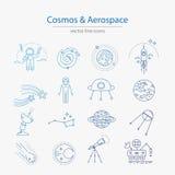Reeks kosmos en ruimtevaartpictogrammen vector illustratie