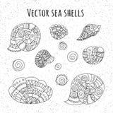 Reeks krabbel overzeese shells voor ontwerp Royalty-vrije Stock Fotografie