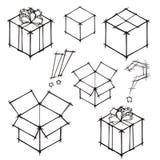 Reeks krabbelschetsen van giften en postboxes royalty-vrije illustratie
