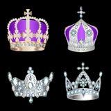Reeks kronen met edelstenen en parels Royalty-vrije Stock Afbeelding
