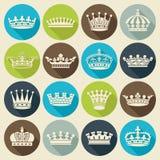 Reeks kronen vlakke pictogrammen Royalty-vrije Stock Foto's