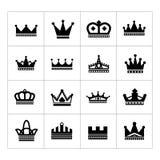 Reeks kroonpictogrammen Royalty-vrije Stock Afbeelding