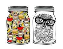 Reeks kruiken met voedsel Royalty-vrije Stock Afbeeldingen