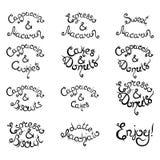 Reeks 1 krullende het van letters voorzien Uitdrukkingen voor Koffiewinkel Vector illustratie Royalty-vrije Stock Fotografie