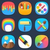 Reeks kunst en verf mobiele pictogrammen in vlak ontwerp Royalty-vrije Stock Afbeeldingen