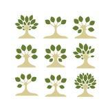 Reeks kunstbomen voor uw ontwerp Stock Afbeelding
