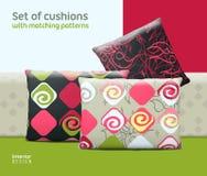 Reeks kussens en hoofdkussens met de aanpassing van naadloze patronen vector illustratie