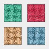 Reeks labyrintpictogrammen op witte achtergrond royalty-vrije illustratie