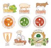 Reeks landbouwbedrijf en veeemblemen en kentekens Stock Foto's