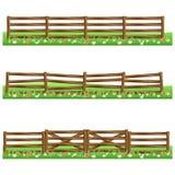 Reeks landbouwbedrijf houten omheiningen die op witte achtergrond wordt geïsoleerd Stock Afbeeldingen