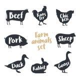 Reeks landbouwbedrijfdieren met steekproeftekst Silhouetteert hand getrokken dieren: koe, haan, kip, schapen, varken, konijn, een Stock Foto's
