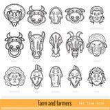 Reeks Landbouwer Family en Pictogrammen van het het Overzichtsweb van Landbouwbedrijfdieren Stock Afbeelding