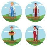 Reeks Landbouwers die in landbouwbedrijfbeeldverhalen werken royalty-vrije illustratie