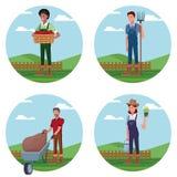 Reeks Landbouwers die in landbouwbedrijfbeeldverhalen werken vector illustratie