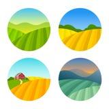 Reeks Landschappen van Landbouwbedrijfgebieden Royalty-vrije Stock Foto's