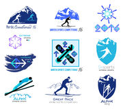 Reeks langlaufski, wintersportenkentekens voor emblemen en etiketten Stock Foto