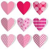 Reeks lapwerk uitstekende harten in gestikte textielstijl Stock Afbeelding