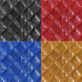 Reeks leer naadloze patronen Zwart, rood, blauw, bruin Royalty-vrije Stock Afbeeldingen