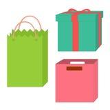 Reeks lege dozen en pakketten Stock Afbeeldingen