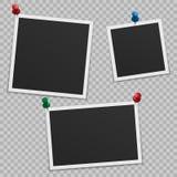 Reeks lege fotokaders met schaduw, met knopen stock illustratie
