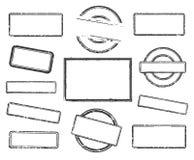 Reeks lege rubberzegels royalty-vrije illustratie
