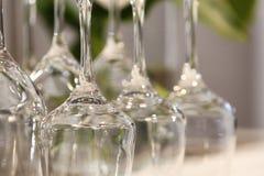 Reeks lege wijnglazen Stock Afbeelding