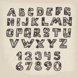 Reeks letters, getallen en symbolen Royalty-vrije Stock Foto's