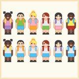 Reeks leuke beeldverhaal diverse kinderen die school eenvormig met rugzakken dragen Royalty-vrije Stock Afbeelding