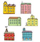 Reeks leuke beeldverhaal grafische gebouwen i vector illustratie