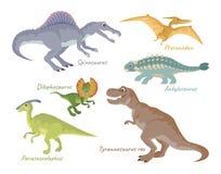 Reeks leuke beeldverhaaldinosaurussen die op witte achtergrond wordt geïsoleerd vector illustratie