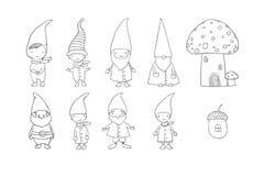 Reeks leuke beeldverhaalgnomen Grappige Elf De voorwerpen van de handtekening op witte achtergrond Vector illustratie vector illustratie