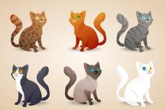 Reeks leuke beeldverhaalkatten met gekleurd verschillend Royalty-vrije Stock Afbeeldingen