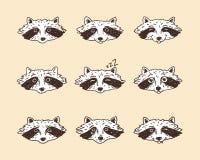 Reeks leuke beeldverhaalwasberen met diverse emoties Vector illustratie vector illustratie