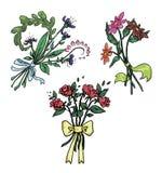 Reeks leuke bloemboeketten Stock Afbeeldingen