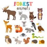 Reeks leuke bosdieren in vector bos De stijl van het beeldverhaal Royalty-vrije Stock Afbeeldingen