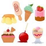 Reeks leuke desserts Stock Afbeelding