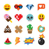 Reeks leuke die emoticons, stickers, emojiontwerp, op witte achtergrond wordt geïsoleerd vector illustratie