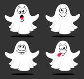 Reeks leuke die spoken op grijze achtergrond met verschillende emoties wordt ge?soleerd Vector illustratie royalty-vrije illustratie
