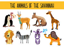 Reeks Leuke die van beeldverhaaldieren en vogels gebieden van weide op witte achtergrond worden geïsoleerd Olifant, giraf, Rinoce Stock Fotografie
