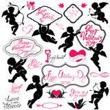 Reeks leuke engelen, de Kalligrafische Dag van tekst Gelukkige Valentine ` s, hea royalty-vrije illustratie