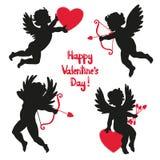 Reeks leuke engelen Silhouet van Cupido's royalty-vrije illustratie