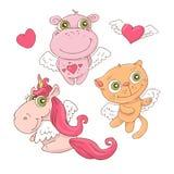 Reeks leuke engelen van beeldverhaaldieren voor de Dag van Valentine s met toebehoren Vector illustratie vector illustratie