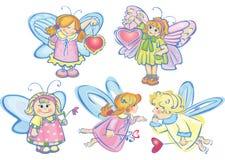Reeks leuke engelen voor ontwerp stock illustratie