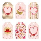 Reeks leuke etiketten voor het vieren van de Dag van Valentine ` s Royalty-vrije Stock Foto's