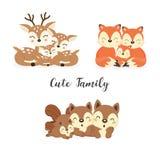 Reeks leuke familie bosdieren Vossen, Herten, Eekhoornsbeeldverhaal vector illustratie