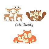 Reeks leuke familie bosdieren Vossen, Herten, Eekhoornsbeeldverhaal royalty-vrije illustratie