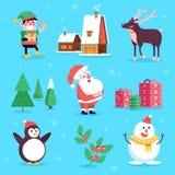 Reeks leuke gelukkige beeldverhaalkarakters Decorati van de Kerstmisvakantie stock illustratie